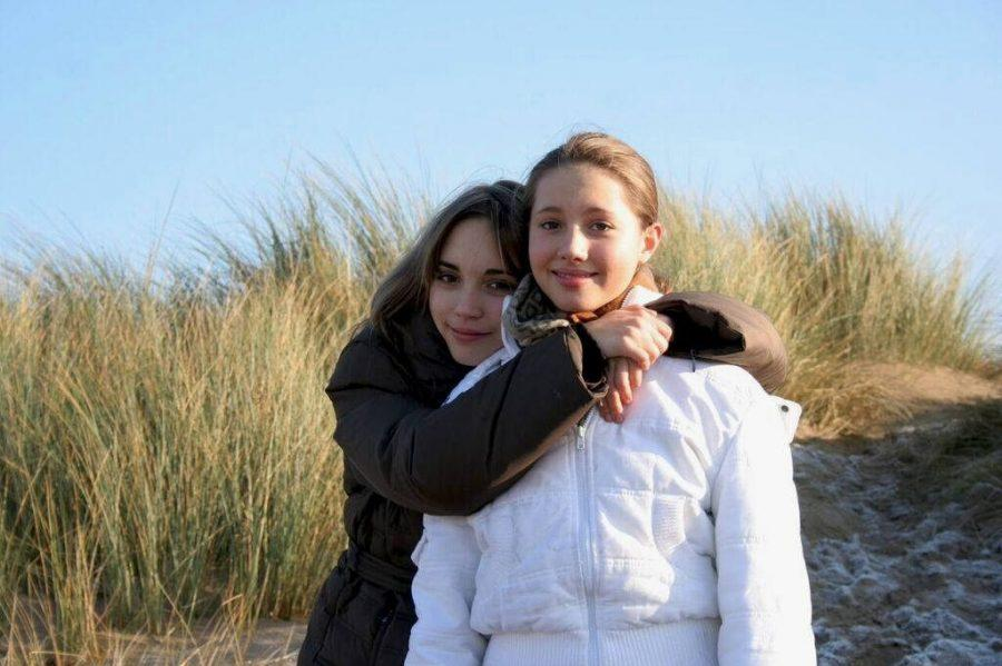 My Sister and I taking a Stroll along the Beach in Devon 2005