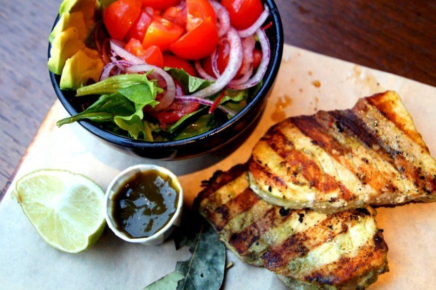 Real jamaican jerk chicken at Rudies in Dalston -swordfish and salad 4