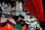 Lanterns hanging from the red Kasuga Taisha in Nijon visited in Nara during our 14 days in Japan