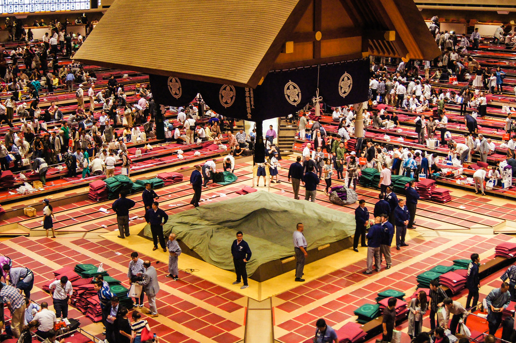 Sumo Wrestling in Tokyo after tournament