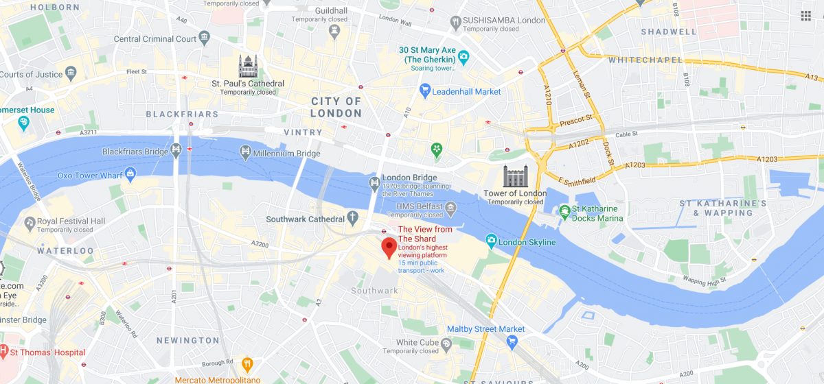 The view from the shard location map