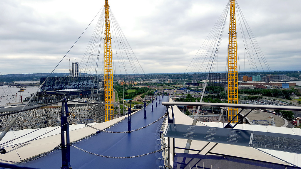 suspended blue walkway of the up at the 02 experience view across london
