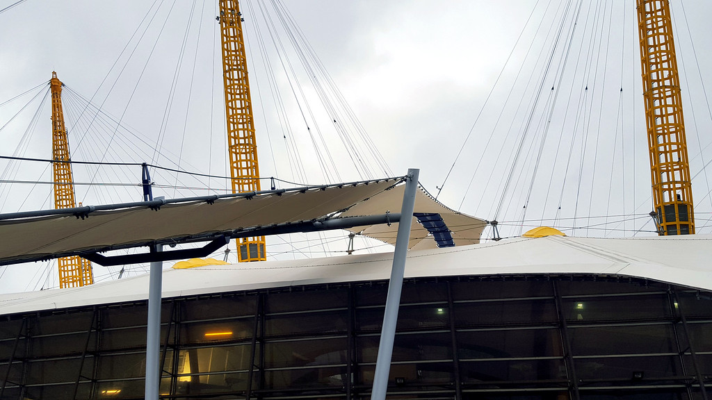 suspended walkway of the up at the 02 experience seen from below