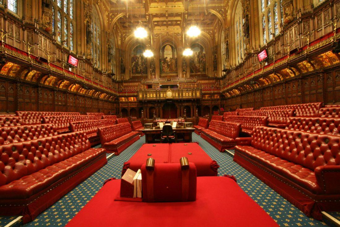 the house of lords in the houses of parliament in london