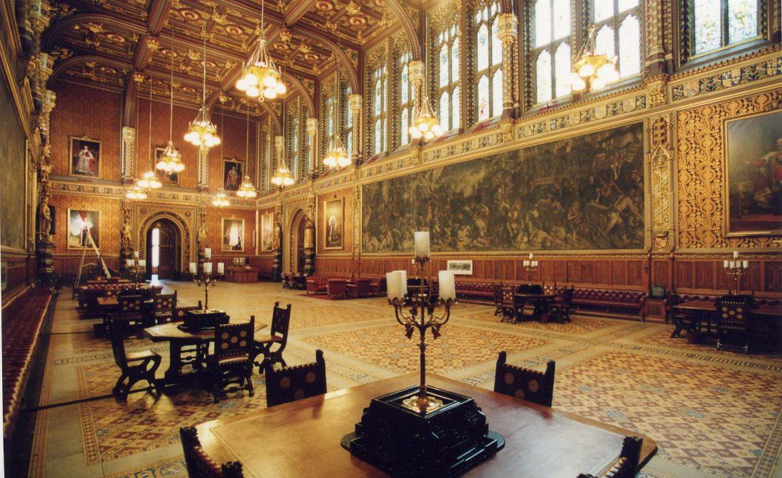 the royal gallery in the houses of parliament in london