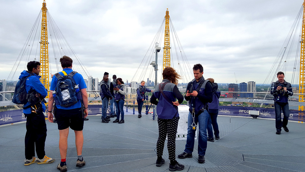 tour taking a break at the top of the 02 during up at the 02