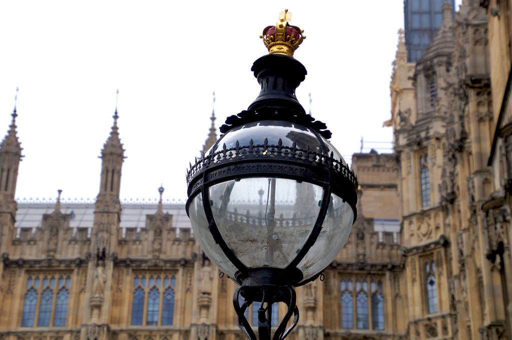traditional victorian street lights on parliament square