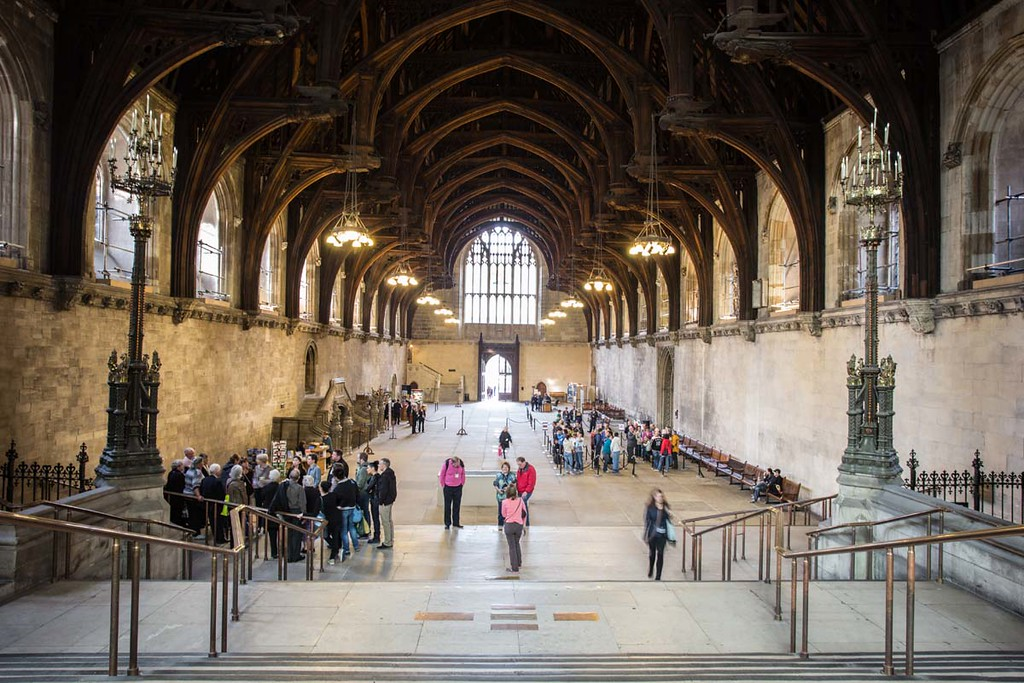 westminster hall in houses of parliament in london