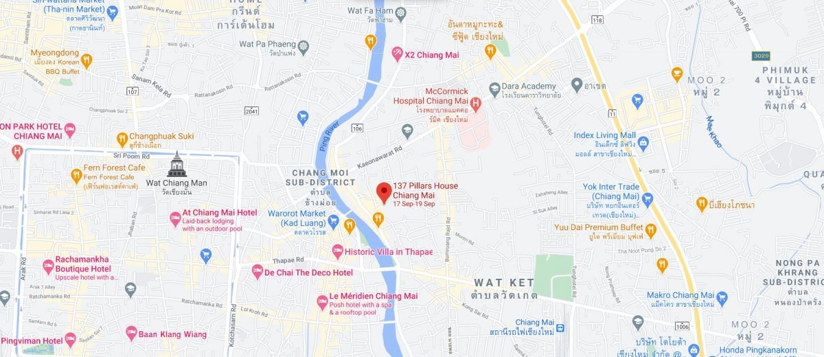 137 pillars house in chiang mai thailand location map