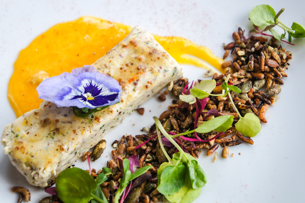 Chicken Terrine with confit yolk and savoury granola at Fire Stables wimbledon london picture 4