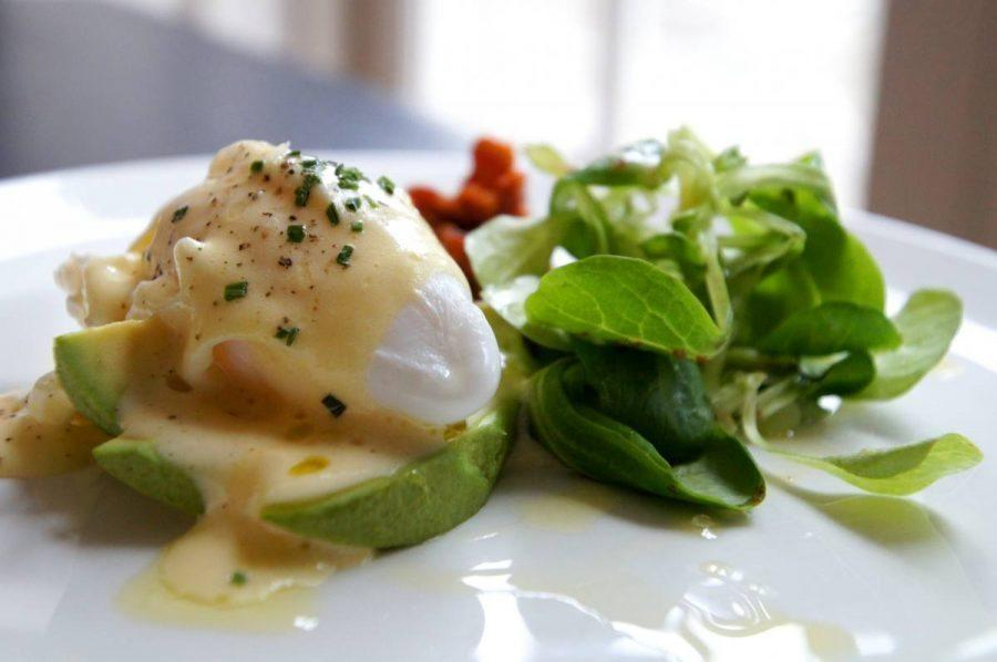 Poached Duck Egg served with Avocado Bacon Chutney and Hollandaise for breakfast at the bel and dragon in odiham image 4