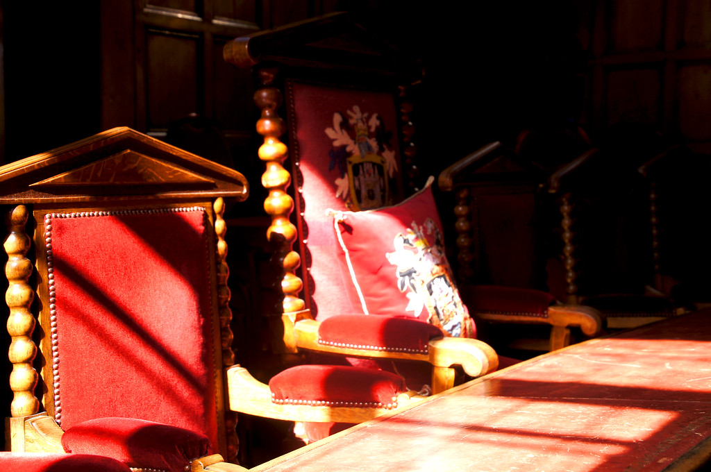 antique chairs in the guildhall of guildford