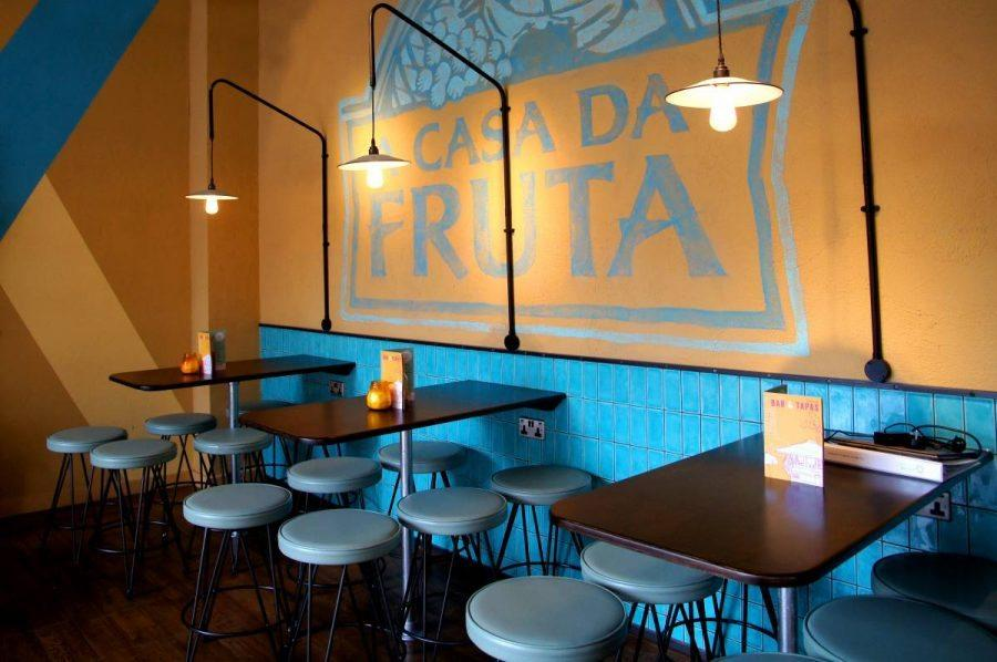 bar tables and stools at las iguanas latin american restaurant on brunswick square in London