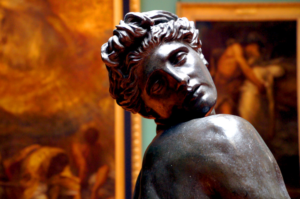 bronze statue of woman in watts gallery in guildford