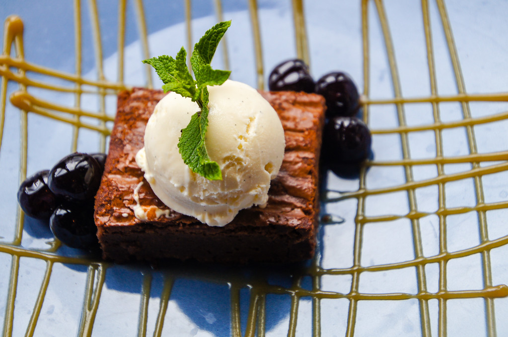 chocolate brownie with salted caramel ice cream and cherries at Fire Stables wimbledon london picture 2
