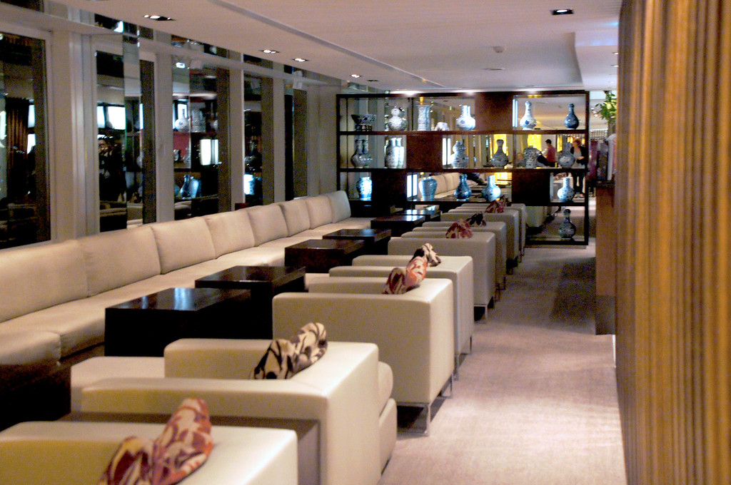 couches and tables in interior of min jiang in london