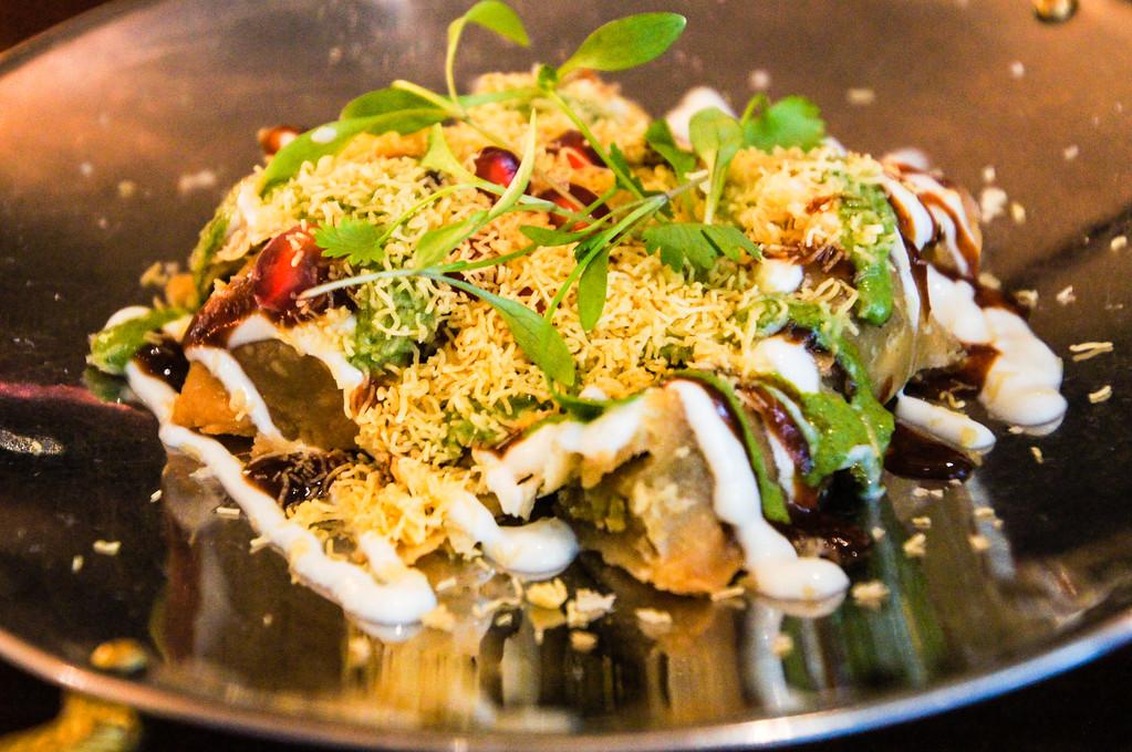 hariyali date and samosa chaat at modern indian restaurant dabaar in london picture 1