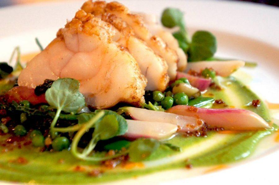 monkfish with peas mangetout and watercress for dinner at the bel and dragon in odiham