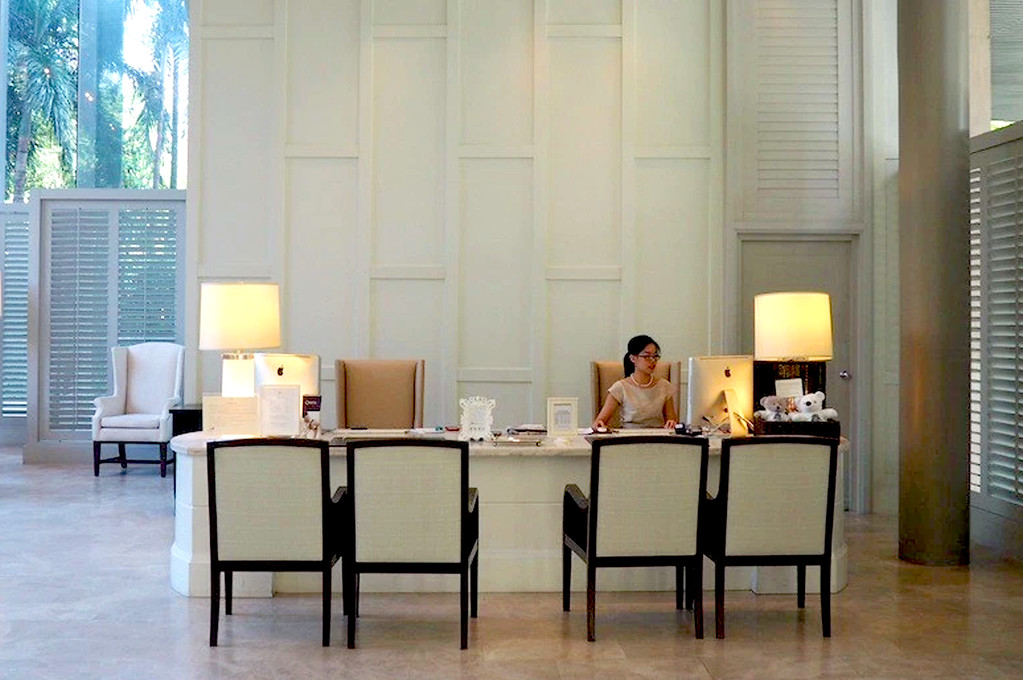 reception desk at the oriental residence in bangkok thailand