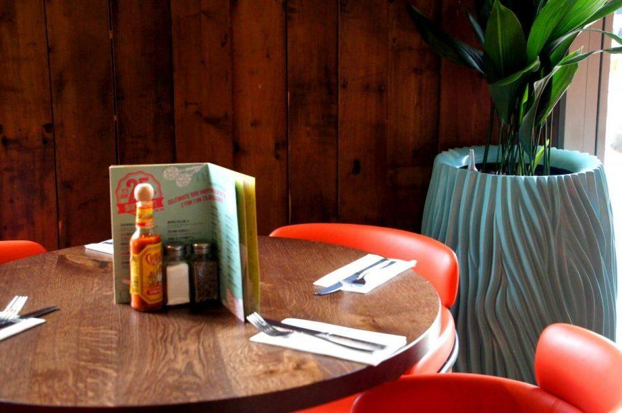 round tables and chairs at las iguanas latin american restaurant on brunswick square in London