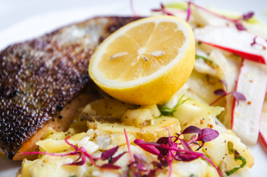 sea trout with roasted potatoes and fennel salad at Fire Stables wimbledon london picture 4
