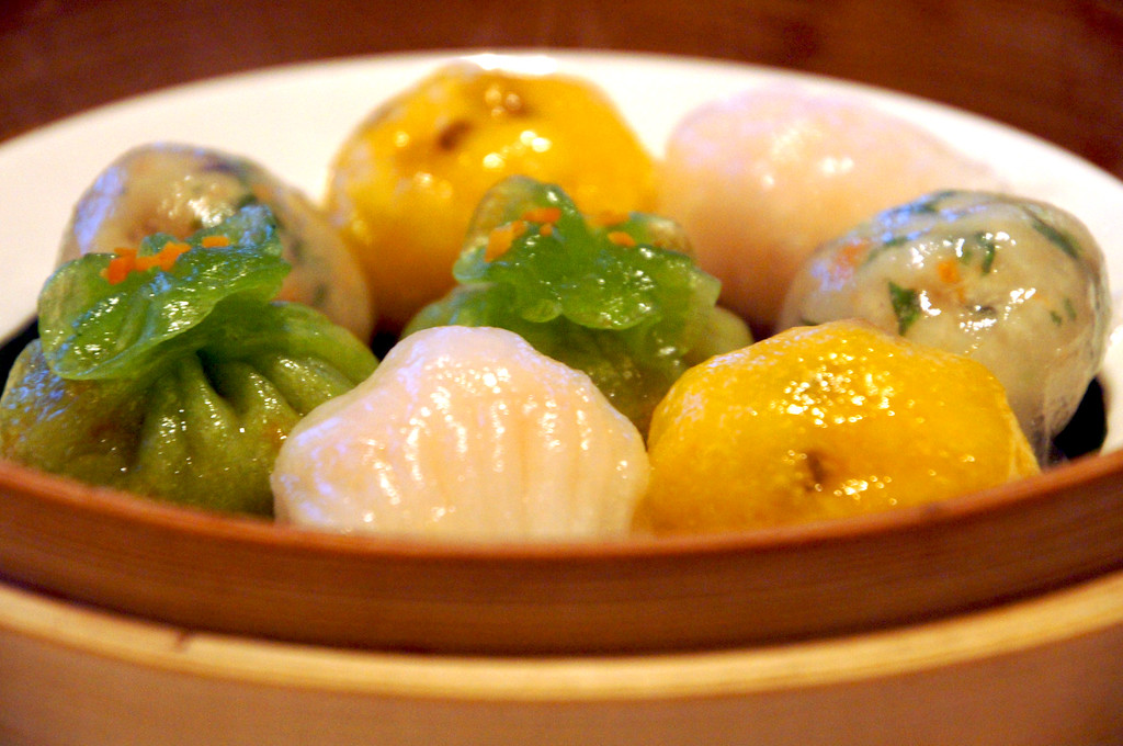 steamed dim sum platter at min jiang in london