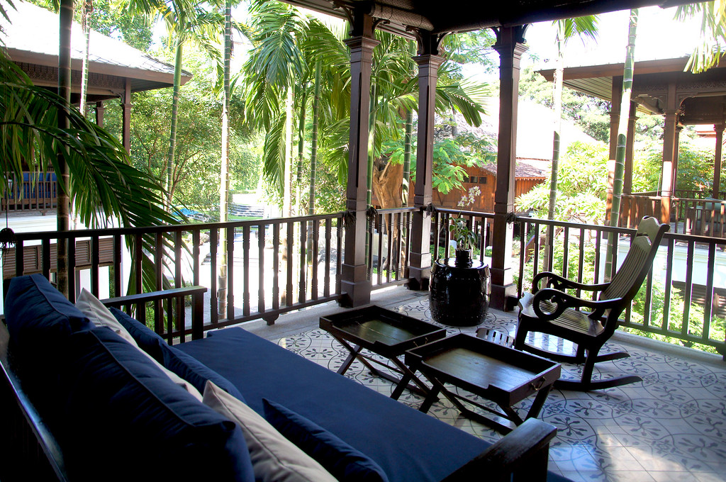 terrace of the bedroom at 137 pillars house in chiang mai thailand
