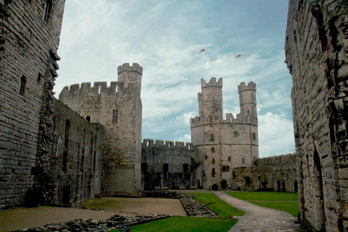 the queens tower of Caernarfon Castle in snowdonia wales