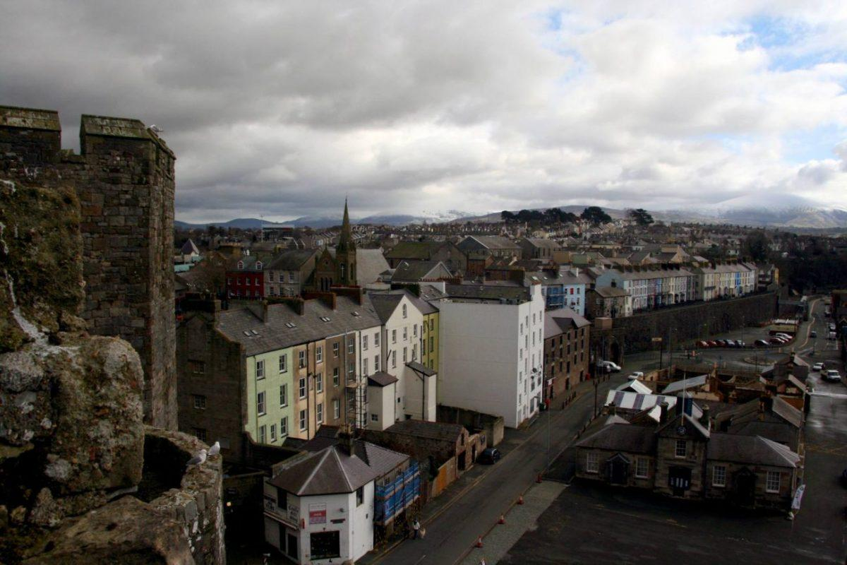 view across caernarfon from the castle in snowdonia wales